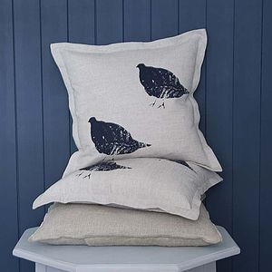 Inky Partridge Cushion