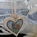 Beach Huts Ceramic Hanging Heart