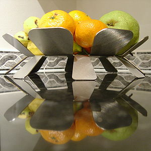 'Flourish' Metal Fruit Bowl - dining room