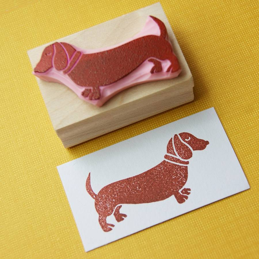 Dachshund hand carved rubber stamp by skull and cross buns