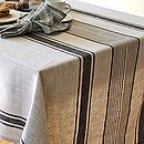 Linen Tablecloth Natural Black Striped Provence