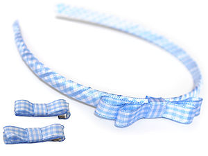 Gingham School Headband And Clips - hair accessories