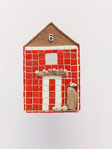 Red Beach Hut Mosaic Wall Art - art & pictures