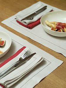 Hemstitched Herringbone Linen Placemat Emilia - placemats & coasters