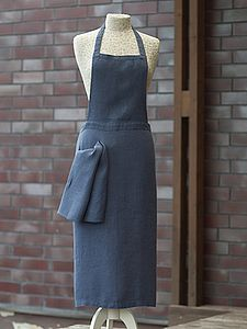 Lara Linen Apron With Side Pocket - aprons