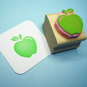 Apple For Teacher Hand Carved Rubber Stamp