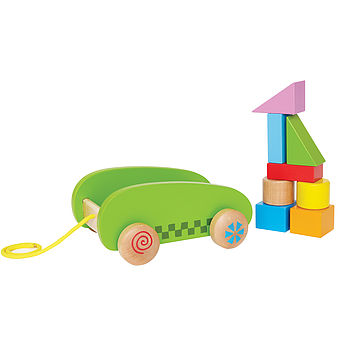 Pull Along Cart With Building Blocks