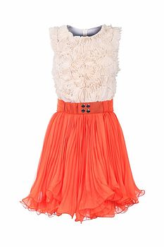 White And Orange Skater Dress