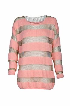 Knitted Pink And Metal Stripe Jumper