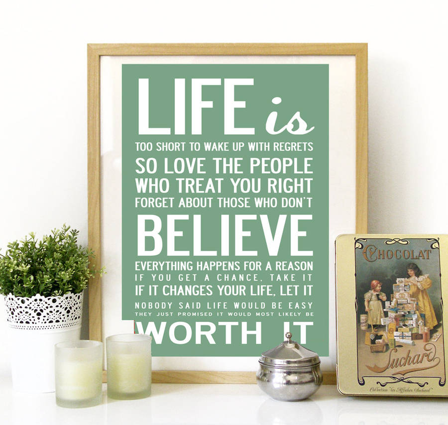Life Quotes Posters Delectable Life Is Too Short' Quote Print Or Canvasi Love Design