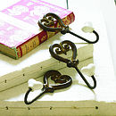 Set Of Three Cast Iron Heart Hooks