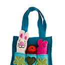 Handmade Felt Child's Finger Puppet Bag