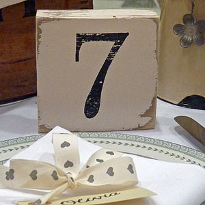Vintage Style Table Number Blocks - table decorations