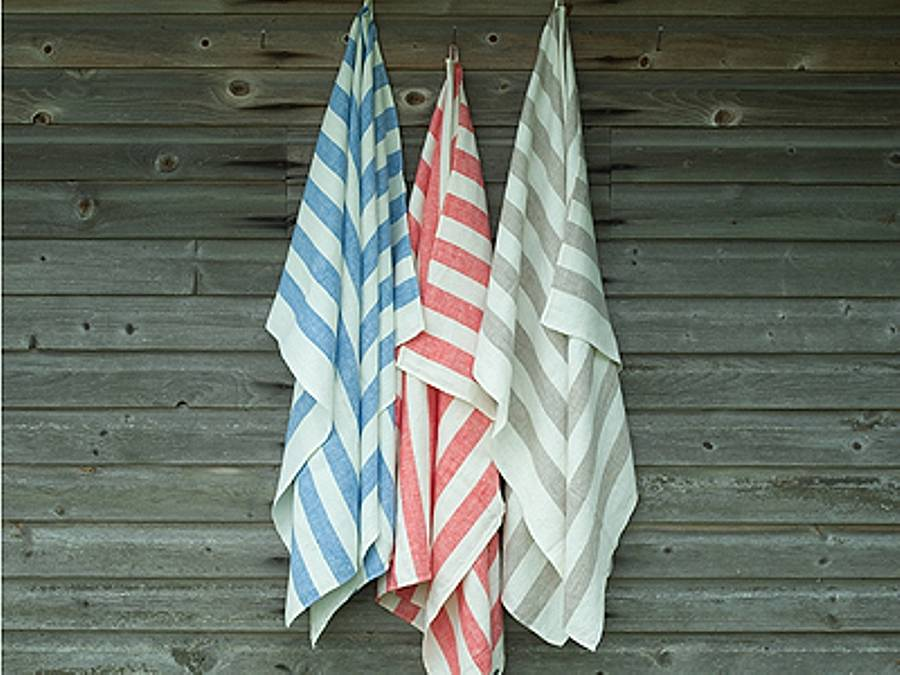 Classic Striped Linen Bath Towel Philippe By Linenme