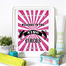Customer Family Circus Print - Hot Pink