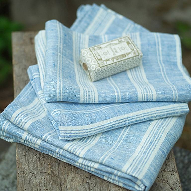 Multistripe Linen Huckaback Bath Towel
