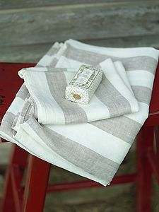 Philippe Striped Linen Towels - towels & bath mats