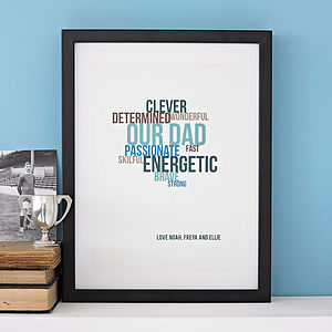 Personalised Typographic Personality Print - gifts for fathers