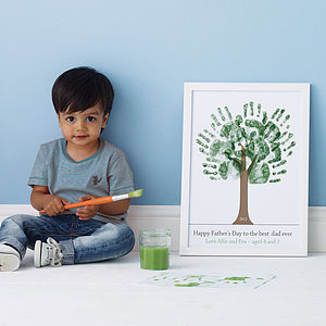 Personalised Hand Print Tree Poster - gifts for men