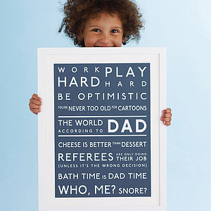 Personalised 'The World According To' Print - view all father's day gifts