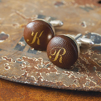 Personalised Handmade Leather Cufflinks