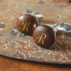 Personalised Handmade Leather Cufflinks - men's sale