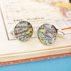 Personalised Location Sterling Silver Map Cufflinks - cufflinks