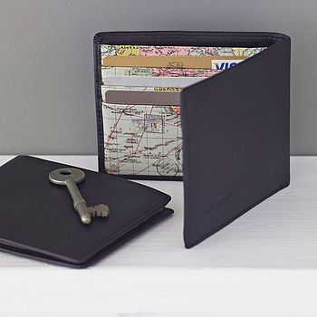 Leather World Map Wallet