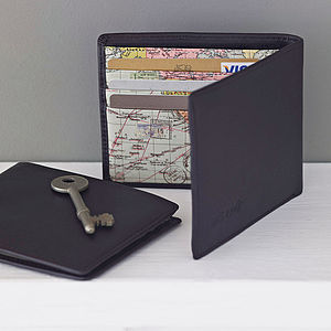 Leather World Map Wallet - gifts for fathers