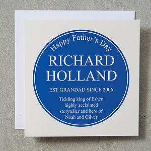 Personalised Heritage Plaque Card - cards for father's day