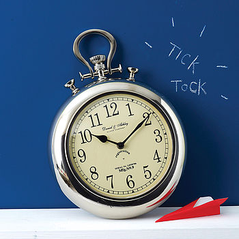 Pocket Watch Silver Wall Clock