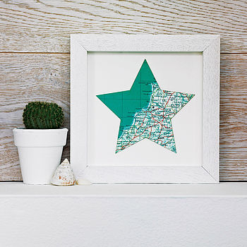 Mini Bespoke Vintage Map Star Artwork