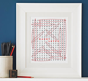 Personalised 'Loves' Word Search Print - pictures & prints for children