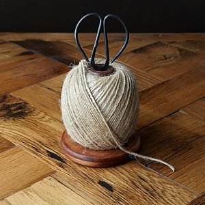 Wooden Bobbin With String And Scissors - garden essentials