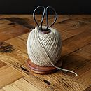 Wooden Bobbin With String And Scissors