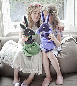 Girls chatting with rabbits