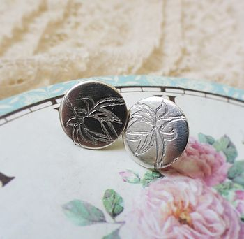 Silver Patterned Stud Earrings