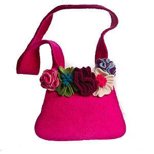 Handmade Felt Pink Bag Removable Brooches