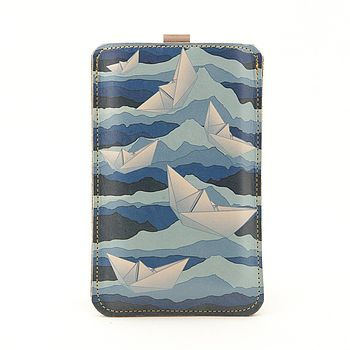 Paper Boats Leather Phone Case