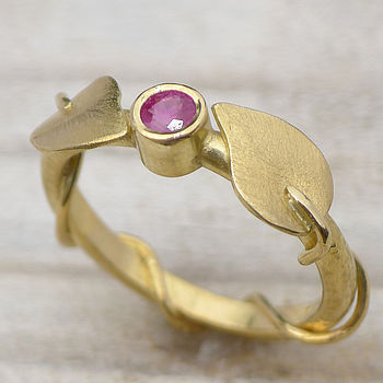Handmade Ruby Ring In 18ct Gold