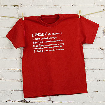 Child's Personalised Definition T Shirt