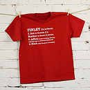 Thumb child s personalised definition t shirt