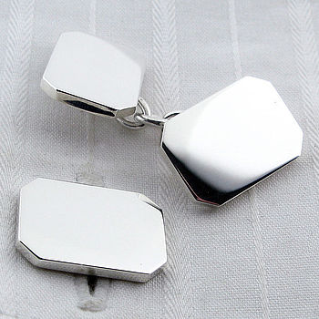 Silver Rectangle Chain Cufflinks