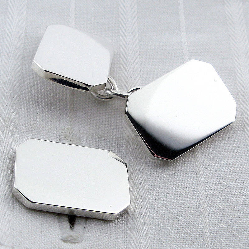 English Cufflinks Silver Rectangle Chain Cufflinks