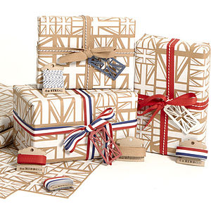 White Union Jack Wrapping Paper Set - wrapping