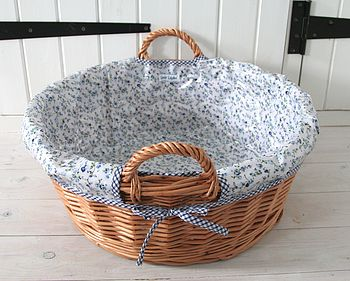 Blue Trellis Wicker Laundry Basket