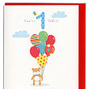 little bear with balloons birthday card