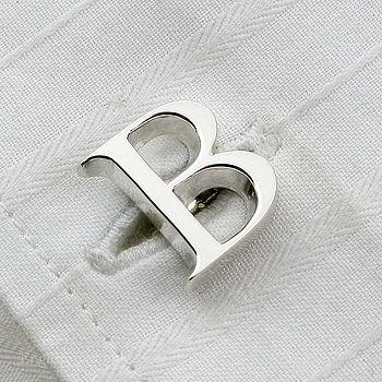 Single Letter Initial Silver Cufflinks