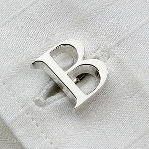 Single Letter Initial Silver Cufflinks - men's accessories