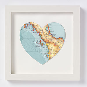 Langkawi Map Heart Print - posters & prints